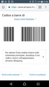 Amazon ricarica in cassa codice a barre