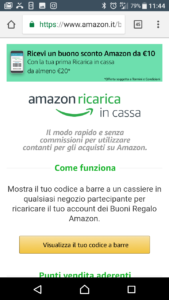 Amazon ricarica in cassa homepage da mobile