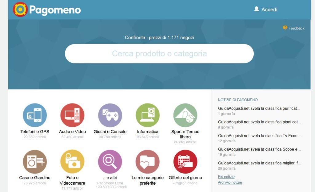 Il portale pagomeno.it: una semplice barra di ricerca e diverse categorie da navigare.